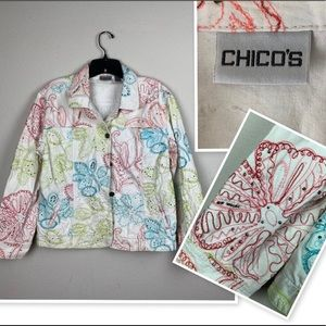 CHICOS White Boho Floral Embroidered Jean Jacket M